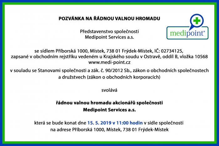 Valná Hromada spol. MEDIPOINT Services a.s. 15. 5. 2019